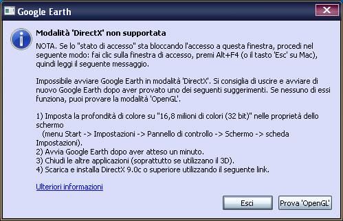 Altro messaggio d'errore di Google Earth