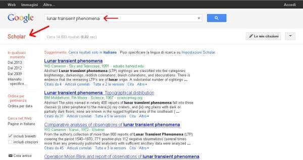 Schermata catturata da Google