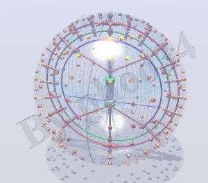 Esempio della disposizione delle bobine ad induzzione sulla superfice del contenitore e sugli amelli rotanti